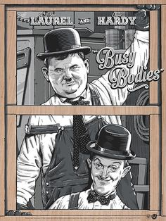 Darin Shock Laurel and Hardy Busy Bodies Poster Release From Mad Duck Laurel Et Hardy, Stan Laurel Oliver Hardy, Desenhos Hanna Barbera, Gravure Illustration, Sound Film, Comedy Duos, Alternative Movie Posters, Classic Comics, Westerns