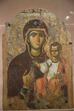 Icon of the Virgin and Child, Church of the Holy Sepulchre thought to be painted by physician, gospel writer, Gentile Christian and evangelist, Luke. Byzantine Icons, Byzantine Art, Religious Icons, Religious Art, Paint Icon, Our Lady Of Lourdes, Russian Icons, Holy Mary, Art Thou