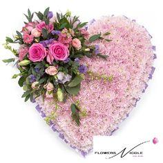 Pink Massed Heart - Funeral Flowers Northwich - is-sit tiegħi Funeral Floral Arrangements, Modern Flower Arrangements, Beautiful Bouquet Of Flowers, Flower Bouquet Wedding, Flower Bouquets, Lace Flowers, Arreglos Ikebana, Memorial Flowers, Cemetery Flowers