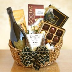Dom Perignon Champagne and Chocolate Gift Basket.