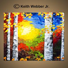 Original Fall Birch Tree Painting Aspen Art Palette Knife Original Modern Art