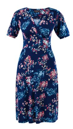 Amari Estelle Dress - Navy - A knee-length tea dress with pretty floral print in a light jersey fabric #myhigh