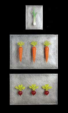 Art Glass, 'Root Vegetables Grouping', Hand blown glass vegetables on distressed stainless steel. Soft Layers, Glass Wall Art, Root Vegetables, Wall Sculptures, Hand Blown Glass, Three Dimensional, Carrots, Stainless Steel, Create