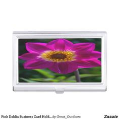 Pink Dahlia Business Card Holder