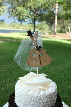 Music-guitar-wedding cake topper-instrument-music wedding-instrument wedding-music lover-bride and groom guitars on Etsy, $29.50