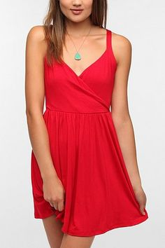 Pins and Needles Knit Surplice Dress - urban outfitters