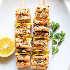Holiday Appetizers- Spicy Salmon Kabobs, great for dinner also. Kebab Recipes, Salmon Recipes, Grilling Recipes, Fish Recipes, Seafood Recipes, Cooking Recipes, Cooking Tips, Sesame Recipes, Kraft Recipes