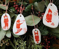 Handmade Porcelain Ornaments by Fideli Sundqvist.