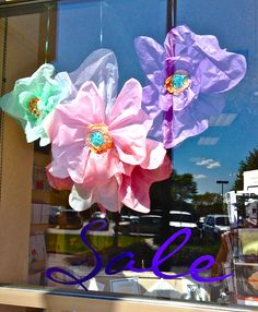 diy window display with tissue paper
