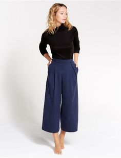 Pantalon gaucho Bleu abysse - Neptune