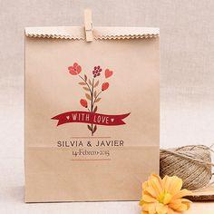 Bolsas Kraft para bodas personalizadas: Ramo de flores