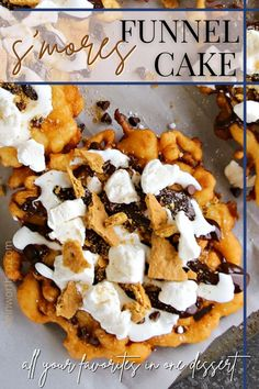 Easy Smores Funnel Cake brings your favorite summer flavors together. Graham cracker funnel cake topped with hot fudge & marshmallow sauce is so good!