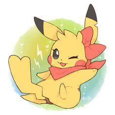 ¡I'm a pretty female Pikachu! Pichu Pokemon, Pokemon Eeveelutions, Deadpool Pikachu, Pikachu Pikachu, Pokemon Fan Art, My Pokemon, Cute Animal Drawings, Cute Drawings, Female Pikachu