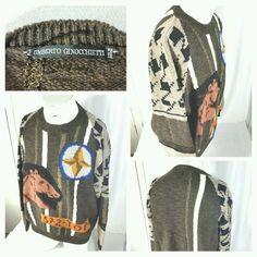 Umberto Ginocchietti wool crew neck equestrian horse sweater. Men size 54. #UmbertoGinocchietti #Crewneck