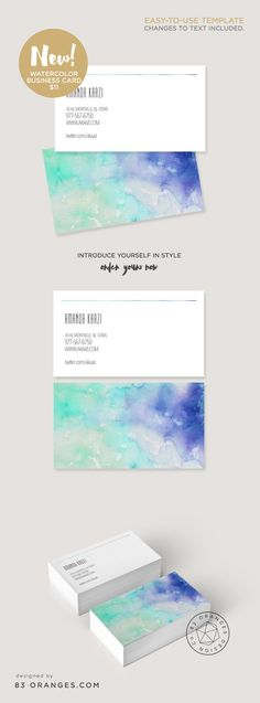 Buy this beautiful #Watercolor style business card template and introduce yourself in style. ~ Content changes included.
