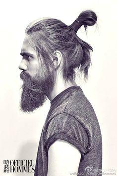 Straight Hair Styled With Man Bun