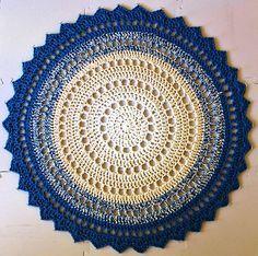 Crochet Mandala Rug Pattern by Marinke Slump Motif Mandala Crochet, Mandala Rug, Crochet Rug Patterns, Crochet Motifs, Crochet Squares, Crochet Doilies, Free Crochet, Crochet Rugs, Crochet Top