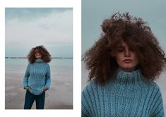 Berenika Czarnota is a Polish fashion designer whose recognition signs are colourful, girlish sweaters. Winter Beach, Thick Sweaters, Easy Knitting, Hand Stitching, Color Mixing, Seasons, Crochet, Blue, Fashion Design