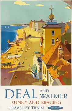 Vintage Deal And Walmer Kent British Railway Travel Tourism Poster Re-Print Wall Decor Train Posters, Railway Posters, Pop Art, British Travel, British Seaside, Tourism Poster, Travel Cards, Vintage Travel Posters, Poster Vintage