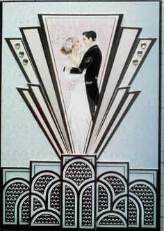 free templates for art deco cards Wedding Anniversary Cards, Wedding Cards, Art Nouveau, Art Deco Borders, Art Deco Cards, Hunkydory Crafts, Tattered Lace Cards, Art Deco Illustration, 1920s Art Deco