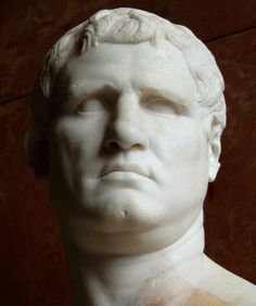 Marcus Vipsanius Agrippa, statesman and general, prominent citizen, life-long friend and son-in-law of Augustus - close-up, Roman bust (marble), 1st century BC, (Musée du Louvre, Paris).