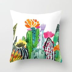 These are watercolor sketches I painted of some desert cacti.  I tried to use different shades of greens as well as bright pops of color.  I have a plant stand in my kitchen with different succulents and cacti growing.  I used them as my subject matter for this painting. <br/> <br/> cacti, cactus, succulent, succulents, desert, cactus painting, watercolor, watercolor painting, purple flower, orange flower, bright, modern, fun, pops of color, green, plants, plant love, cactus love, cacti…