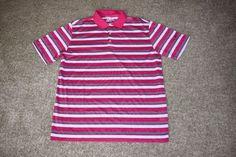 Nike Golf Ultra Stripe Polo 2.0 542174 Mens Pink Gray Blue Size Large L  #NikeGolf #PoloShirt