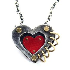 Love in 3-D Heart Pendant by Beth Taylor: Silver & Tin Necklace available at www.artfulhome.com