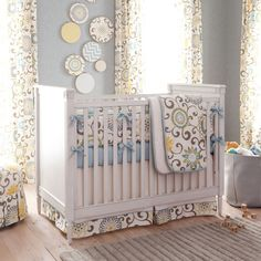 Neutral Baby Crib Bedding / Girl Crib Bedding / Boy Baby Crib Bedding: Spa Pom Pon Play Crib Bedding - Fabric Swatches Only