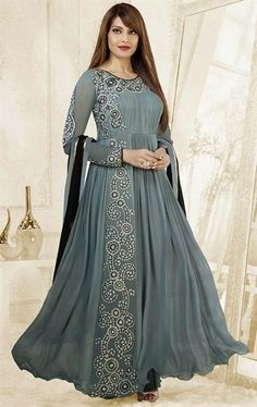 Picture of Latest Grey and Black Party Wear Salwar Kameez