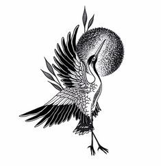 Crane Tattoo, Rooster, Tattoos, Animals, Tatuajes, Animaux, Tattoo, Japanese Tattoos, Animal