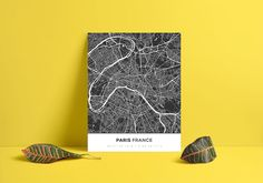 Premium Map Poster of Paris France - Simple Contrast - Unframed