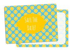 Einladungskarten - 5x Einladung inkl. Umschlag Safe the date zitrone - ein Designerstück von millimi bei DaWanda