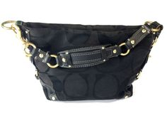 Coach 10169 Signature Carly Hobo Purse Jacquard Black Shoulder Bag MSRP $348 #Coach #Hobo