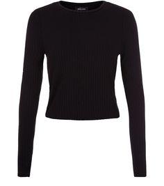 Black Ribbed Space Dye Long Sleeve Top | New Look