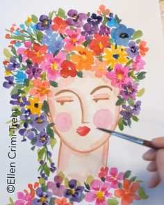 Suzy flower lady watercolor painting Suzy flower lady watercolor painting Victoria Conn Watercolor A fun floral lady painting video watercolor homedecor walldecor art artwork nbsp hellip Painting videos Painting Videos, Painting & Drawing, Watercolor Flowers, Watercolor Paintings, Drawing Flowers, Watercolor Techniques, Arte Sketchbook, Wow Art, Painting Inspiration