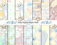 Meow kitty paper pack Cats papers Digital paper Digital paper commercial use Seamless pattern Sweet kittens Scrapbook paper Invitation Blog by PrintShoppy on Etsy