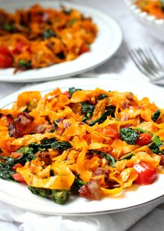 Paleo butternut squash pasta with bacon tomato and broccoli rabe - paleo and whole30