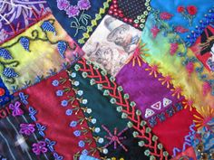 """Crazy Stitcher: """"Cat's and Geisha"""" Crazy Quilt Moving To California, Crazy Quilting, Some Pictures, Geisha, Gift Wrapping, Quilts, Embroidery, Blanket, Cats"""