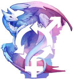 Bigender Pride dragon