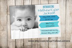 """Baby announcement """"BABY IN BLUE"""" blue, green, light blue, bright, arrow, contemporary design, boy, girl, choose colors, retro, new born baby by yellowlemons on Etsy"""