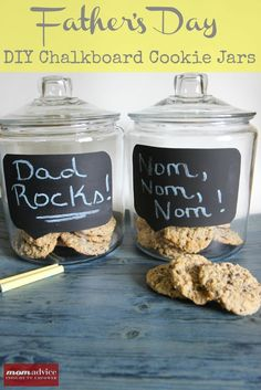 DIY Chalkboard Conversation Bubble Cookie Jars for Father's Day.