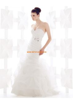 Sirena Cuore perline increspato abiti da sposa in raso organza Giardino 2013