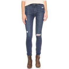 Paige Denim Marogt Ultra Skinny Jeans ($140) ❤ liked on Polyvore featuring jeans, pants, elia destructed, high rise jeans, destroyed jeans, high waisted jeans, skinny jeans and ripped jeans