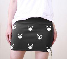 SO CUTE! ♥ HERE KITTY KITTY LOL Mini Kitty Cats Black Mini Skirt Screenprint  available in size S, M, L