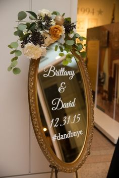 Gold mirror wedding sign