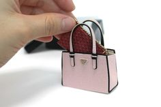 OOAK light pink bag Artisan Handmade Luxury miniature Leather Purse dollhouse #handmade
