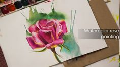 Easy watercolor painting rose - wet on wet technique