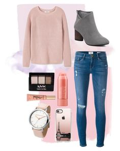 """""""Her Colour is Pink"""" by stilldiscovering ❤ liked on Polyvore featuring MANGO, Frame Denim, NYX, Too Faced Cosmetics and Casetify"""