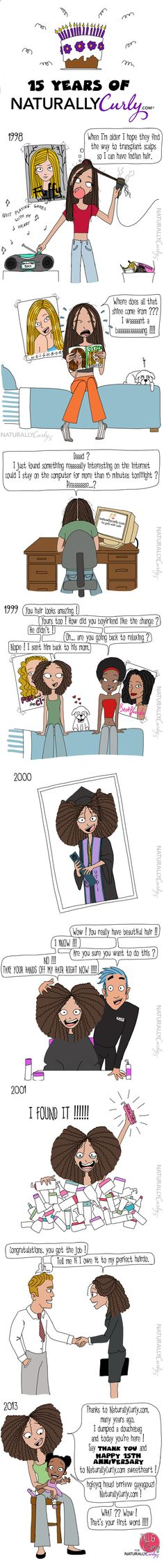 15 Years of NaturallyCurly | COMIC  Thanks @Terry Martinez N Curly for illustrating how NaturallyCurly.com has grown over the years! So grateful to be part of so many curlies' lives. Tell a friend, tell your kiddos -- rock those curls, coils, and waves proudly!